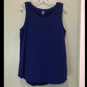 Dark Blue Girls SO Lace Shoulder Tank